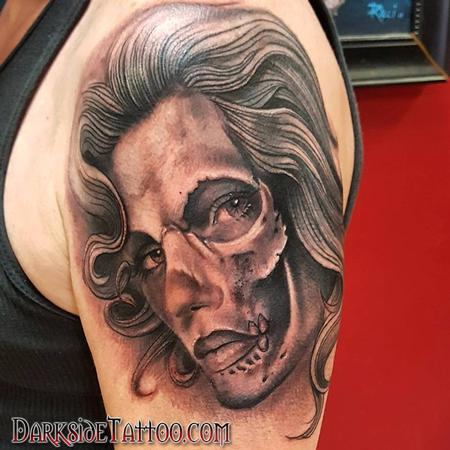 Tattoos - Black and Gray Skull Face Tattoo - 130050