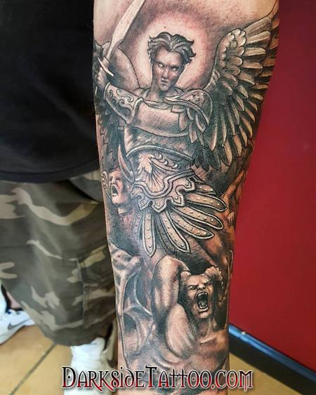Black and Gray St. Michael Tattoo