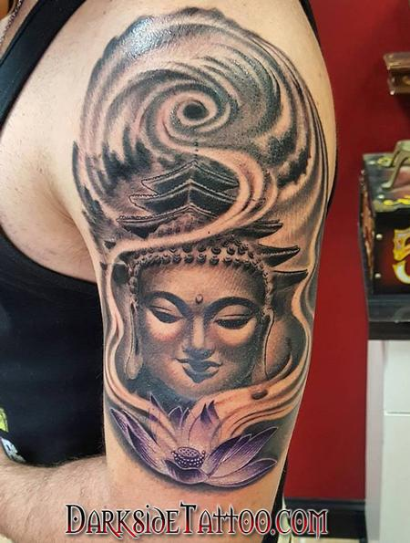 Black and Gray Buddha Tattoo