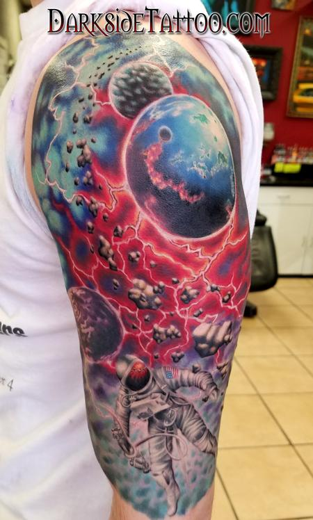 Tattoos - Color Astronaut Space Scene - 127059