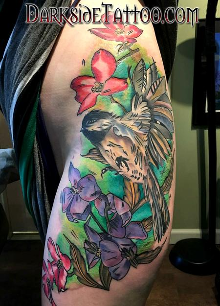 Color Watercolor Bird and Flowers