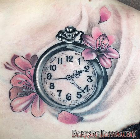 Color Clock and Cherry Blossom Tattoo