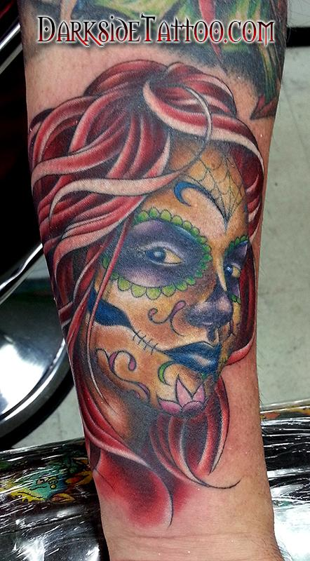 Tattoos - Color Day of the Dead Girl Tattoo - 88814