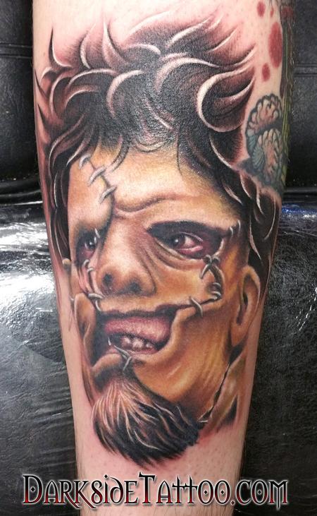 Color Leatherface Portrait Tattoo Design