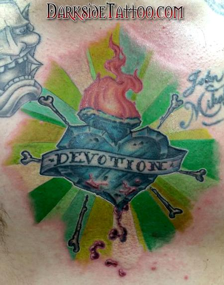 Tattoos - Color New School Sacred Heart Chest Tattoo - 98895