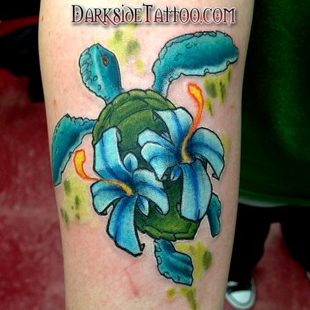 Tattoos - Color turtle with flowers - 88737