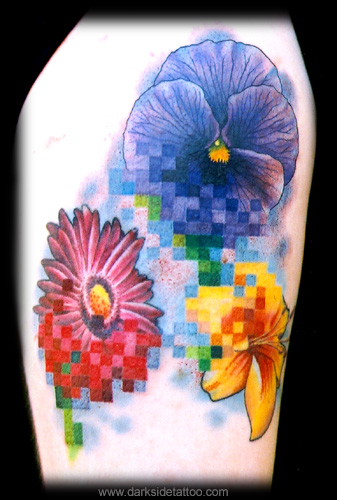 Tattoos - Monica's pixel flowers - 3920