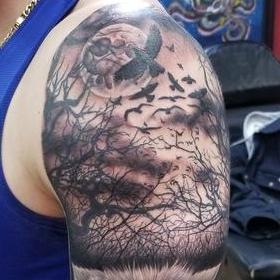 Tattoos - Black and Gray Wolf Tattoo - 132123