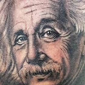 Tattoos - Black and Gray Einstein Portrait Tattoo - 117325