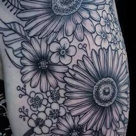 Tattoos - Black and Gray Flowers Tattoo - 130048