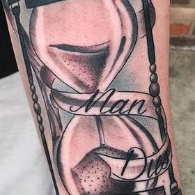 Tattoos - Black and Gray Hourglass Tattoo - 117322