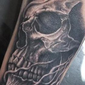 Tattoos - Black and Gray Skull Tattoo - 132126