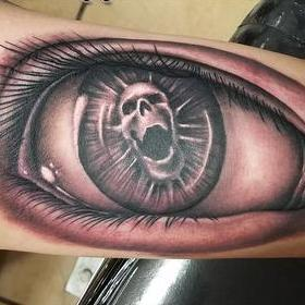 Tattoos - Black and Gray Skull Eyeball Tattoo - 119883