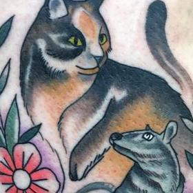 Tattoos - Cat and Mouse Tattoo - 130036