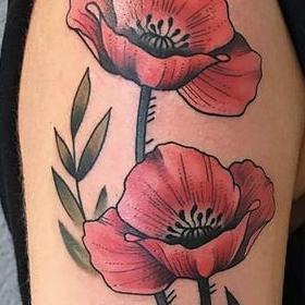 Tattoos - Color Poppies Tattoo - 130043