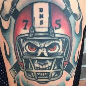 Tattoos - Skull in Helmet Tattoo - 130032