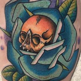 Tattoos - Color Skull and Rose Tattoo - 132130