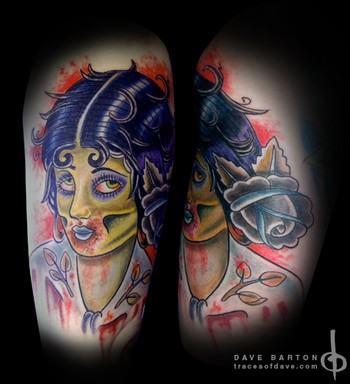 Comments: This Traditional Zombie Pin Up Girl is part of a sleeve.