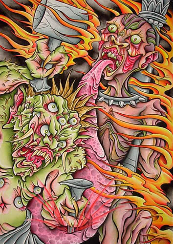Demon and Roses I by Dave Fox: TattooNOW :