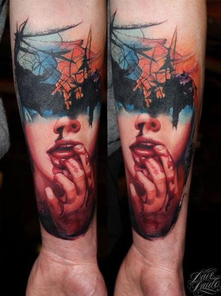 Tattoos - Abstract Girl Forearm Tattoo - 115001
