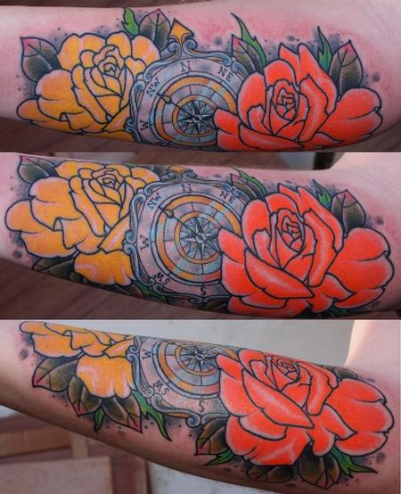David Chaston - Compass and Roses Tattoo