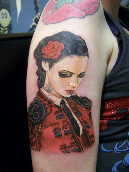 Viveros - Bull Fight Her Tattoo Design Thumbnail