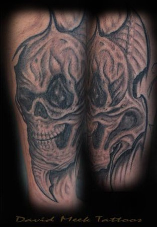 Bio Organic Black and Gray  Skull Arm Tattoo Tattoo Design