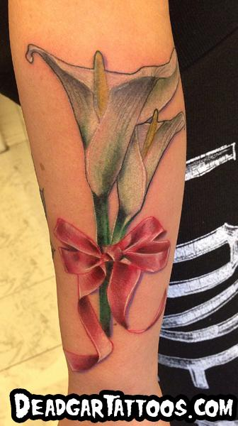 Tattoos - Alcatraz flower with pink ribbon  - 78830