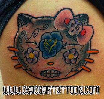 Dia De Los Dead Gatos  Tattoo Design Thumbnail