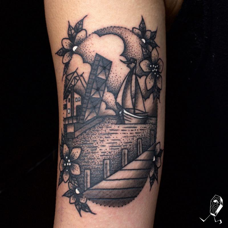 Mystic connecticut dotwork vignette by dedleg tattoonow for Tattoo places in ct
