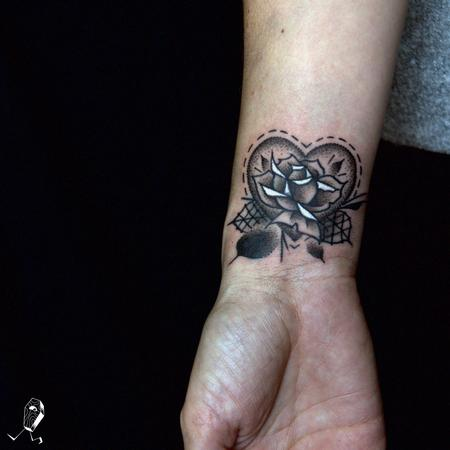 Rose and Dotwork Heart Coverup Tattoo Design Thumbnail