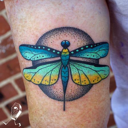 Colorfade Dotwork Dragonfly Tattoo Design Thumbnail