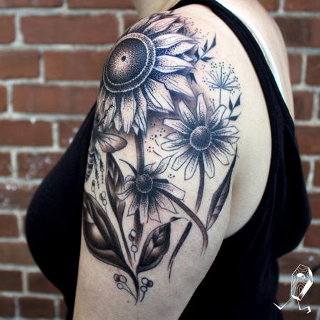 Tattoos - Dotwork Sunflower and Black Eyed Susans  - 127747
