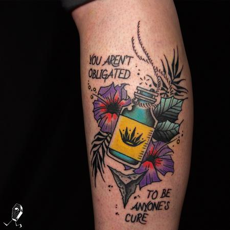 Tattoos - Medicine Bottle and Hibiscus Flowers - 126015