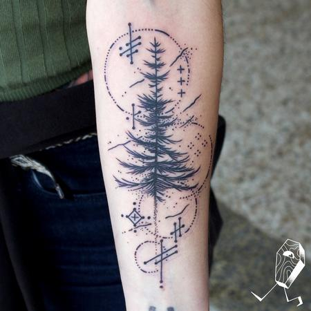 Tattoos - Magical Sketchy Tree and Sigils - 128886