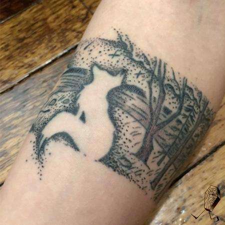 Tattoos - Dotwork Landscape Armband with Fox - 124871