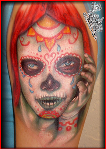 day of dead tattoos for women. day of dead tattoos.