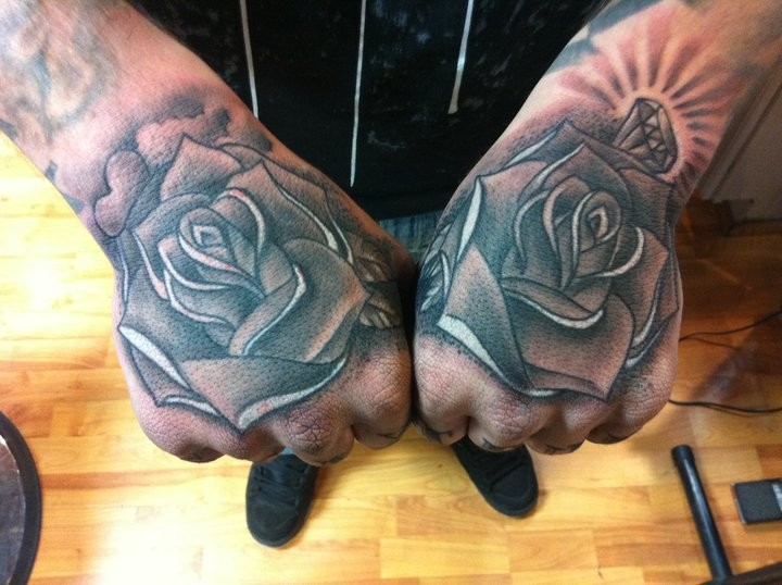 Tattoos - Big Gus - hand full of roses