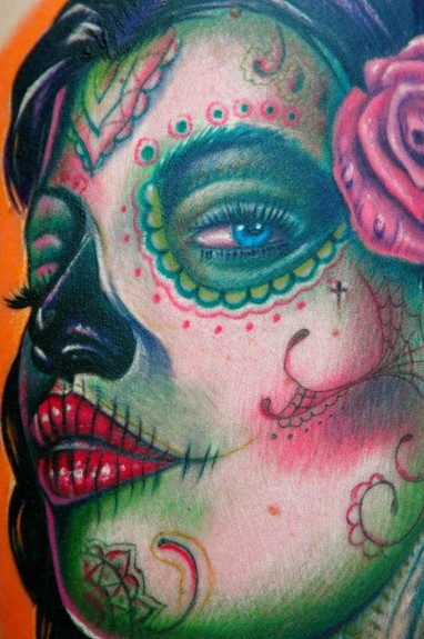 ... Tattoo Gathering : Tattoos : Big Gus : Sugar Skull Girl tattoo detail