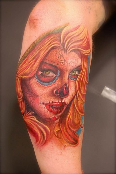 sugar skull tattoo. Sugar Skull Girl tattoo