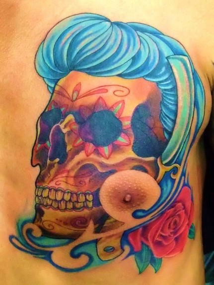 Rockabilly sugar skull Tattoo Design