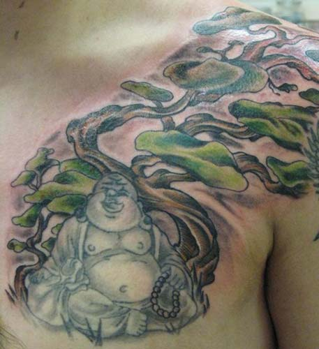 Buddha and tree tattoo by dennis duarte tattoonow for Tattoo shops roanoke va