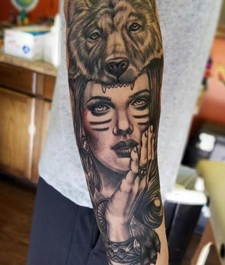 Tattoos - Lady w/Bear headdress - 128572