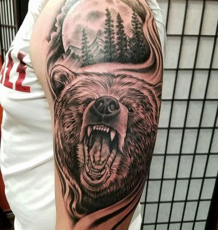 Tattoos - Bear w/Forest scene - 132162