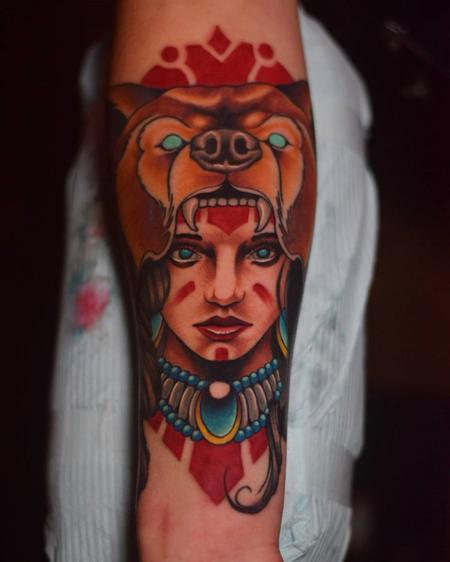 Tattoos - Girl w/Bear headdress - 128478