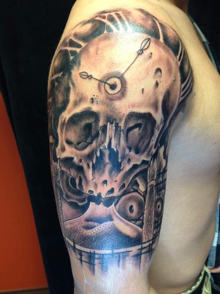 Skull and time piece tattoo by micah malone tattoos for Time piece tattoos