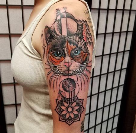 Tattoos - Geometric Cat - 131790
