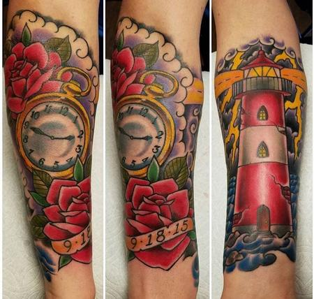 Tattoos - Lighthouse and Pocketwatch - 131464