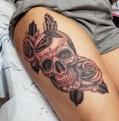 Tattoos - Sugar skull & Roses - 128471
