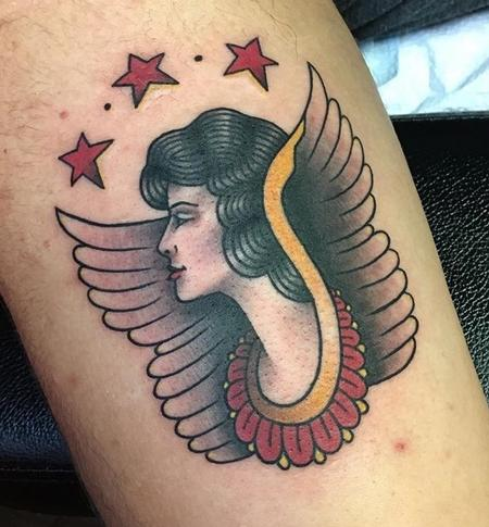 Tattoos - Traditional Lady head w/wings - 130564